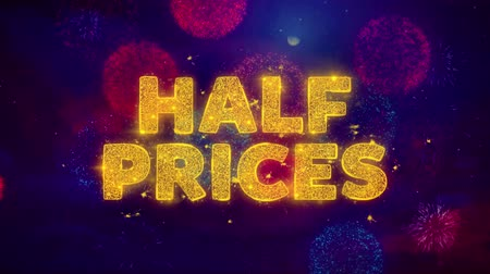 cupom : Half Prices Text on Colorful Firework Explosion Particles. Sale, Discount Price, Off Deals, Offer promotion offer percent discount ads 4K Loop Animation.