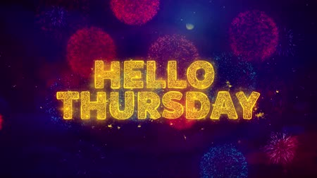 čtvrtek : Hello Thursday Text on Colorful Firework Explosion Particles. Sale, Discount Price, Off Deals, Offer promotion offer percent discount ads 4K Loop Animation.
