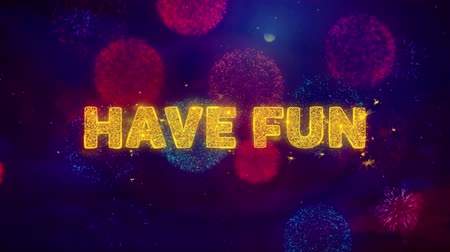 ilan : Have Fun Text on Colorful Firework Explosion Particles. Sale, Discount Price, Off Deals, Offer promotion offer percent discount ads 4K Loop Animation. Stok Video