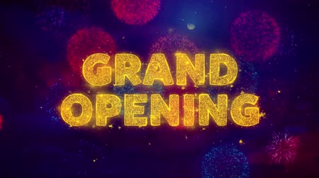 慶典 : Grand Opening Text on Colorful Firework Explosion Particles. Sale, Discount Price, Off Deals, Offer promotion offer percent discount ads 4K Loop Animation. 影像素材