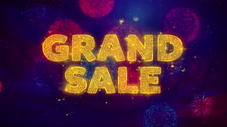 compra ora : Grand Sale Text on Colorful Firework Explosion Particles. Sale, Discount Price, Off Deals, Offer promotion offer percent discount ads 4K Loop Animation. Filmati Stock