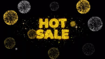 cupom : Hot Sale Text Reveal on Glitter Golden Particles Firework. Sale, Discount Price, Off Deals, Offer promotion offer percent discount ads 4K Loop Animation. Stock Footage