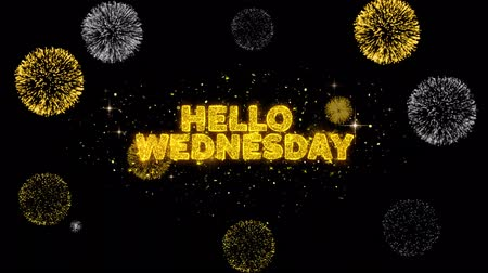 nesnel : Hello Wednesday Text Reveal on Glitter Golden Particles Firework. Sale, Discount Price, Off Deals, Offer promotion offer percent discount ads 4K Loop Animation.