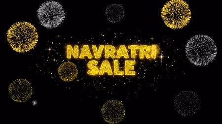 dussehra : Navratri Sale Text Reveal on Glitter Golden Particles Firework. Sale, Discount Price, Off Deals, Offer promotion offer percent discount ads 4K Loop Animation.