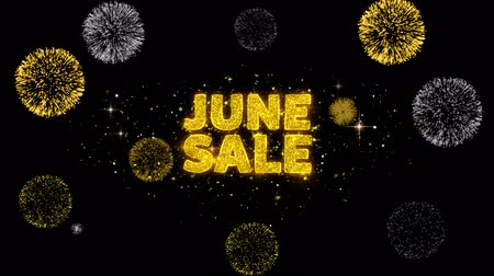 haziran : June Sale Text Reveal on Glitter Golden Particles Firework. Sale, Discount Price, Off Deals, Offer promotion offer percent discount ads 4K Loop Animation.