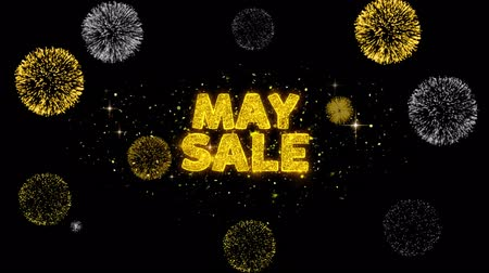 cupom : May Sale Text Reveal on Glitter Golden Particles Firework. Sale, Discount Price, Off Deals, Offer promotion offer percent discount ads 4K Loop Animation.