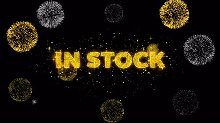cupom : In Stock Text Reveal on Glitter Golden Particles Firework. Sale, Discount Price, Off Deals, Offer promotion offer percent discount ads 4K Loop Animation.
