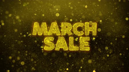 рекламный : March Sale Text Golden Glitter Glowing Lights Shine Particles. Sale, Discount Price, Off Deals, Offer promotion offer percent discount ads 4K Loop Animation. Стоковые видеозаписи