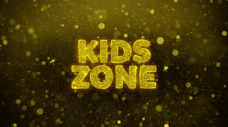 долл : Kids zone Text Golden Glitter Glowing Lights Shine Particles. Sale, Discount Price, Off Deals, Offer promotion offer percent discount ads 4K Loop Animation.