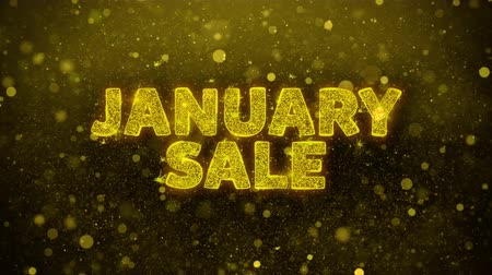 рекламный : January Sale Text Golden Glitter Glowing Lights Shine Particles. Sale, Discount Price, Off Deals, Offer promotion offer percent discount ads 4K Loop Animation.