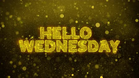 čtvrtek : Hello Wednesday Text Golden Glitter Glowing Lights Shine Particles. Sale, Discount Price, Off Deals, Offer promotion offer percent discount ads 4K Loop Animation.