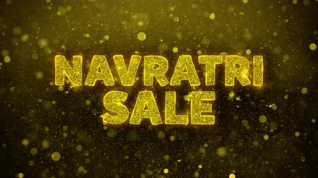 puja : Navratri Sale Text Golden Glitter Glowing Lights Shine Particles. Sale, Discount Price, Off Deals, Offer promotion offer percent discount ads 4K Loop Animation.