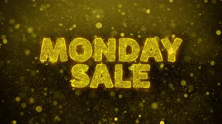 金曜日 : Monday Sale Text Golden Glitter Glowing Lights Shine Particles. Sale, Discount Price, Off Deals, Offer promotion offer percent discount ads 4K Loop Animation. 動画素材