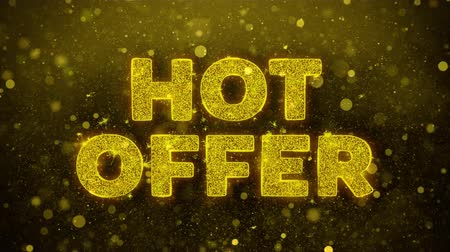 cupom : Hot Offer Text Golden Glitter Glowing Lights Shine Particles. Sale, Discount Price, Off Deals, Offer promotion offer percent discount ads 4K Loop Animation.
