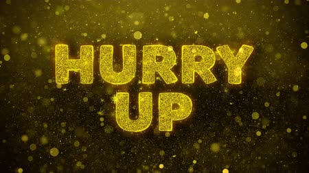 alku : Hurry Up Text Golden Glitter Glowing Lights Shine Particles. Sale, Discount Price, Off Deals, Offer promotion offer percent discount ads 4K Loop Animation. Stock mozgókép