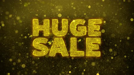 autocolantes : Huge Sale Text Golden Glitter Glowing Lights Shine Particles. Sale, Discount Price, Off Deals, Offer promotion offer percent discount ads 4K Loop Animation.