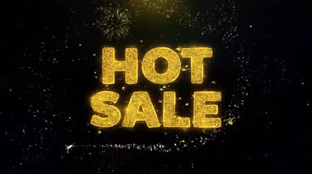 végső : Hot Sale Text on Gold Glitter Particles Spark Exploding Fireworks Display. Sale, Discount Price, Off Deals, Offer Promotion Offer Percent Discount ads 4K Loop Animation. Stock mozgókép