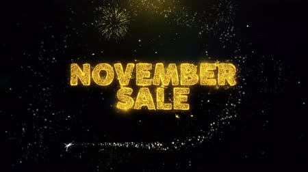 product promo : November Sale Text on Gold Glitter Particles Spark Exploding Fireworks Display. Sale, Discount Price, Off Deals, Offer Promotion Offer Percent Discount ads 4K Loop Animation.