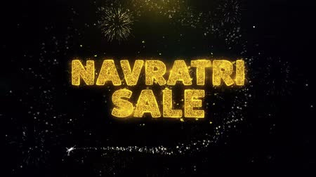 puja : Navratri Sale Text on Gold Glitter Particles Spark Exploding Fireworks Display. Sale, Discount Price, Off Deals, Offer Promotion Offer Percent Discount ads 4K Loop Animation.