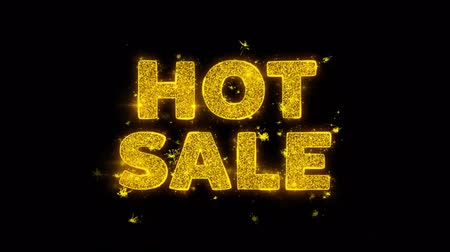 odznak : Hot Sale Text Sparks Glitter Particles on Black Background. Sale, Discount Price, Off Deals, Offer promotion offer percent discount ads 4K Loop Animation.