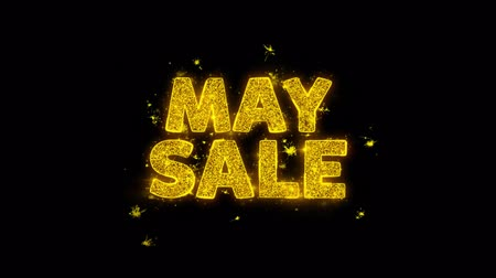 lehet : May Sale Text Sparks Glitter Particles on Black Background. Sale, Discount Price, Off Deals, Offer promotion offer percent discount ads 4K Loop Animation.