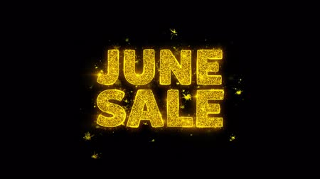 juni : June SaleText Sparks Glitter Particles on Black Background. Sale, Discount Price, Off Deals, Offer promotion offer percent discount ads 4K Loop Animation.