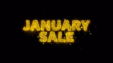 рекламный : January Sale Text Sparks Glitter Particles on Black Background. Sale, Discount Price, Off Deals, Offer promotion offer percent discount ads 4K Loop Animation.