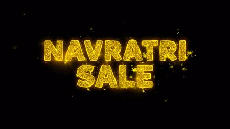 puja : Navratri Sale Text Sparks Glitter Particles on Black Background. Sale, Discount Price, Off Deals, Offer promotion offer percent discount ads 4K Loop Animation.