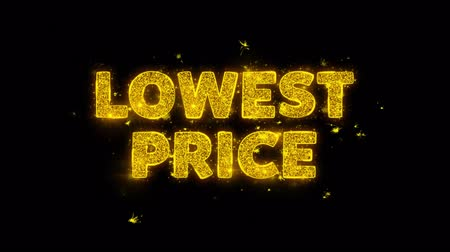 product promo : Lowest Price Text Sparks Glitter Particles on Black Background. Sale, Discount Price, Off Deals, Offer promotion offer percent discount ads 4K Loop Animation. Stock Footage