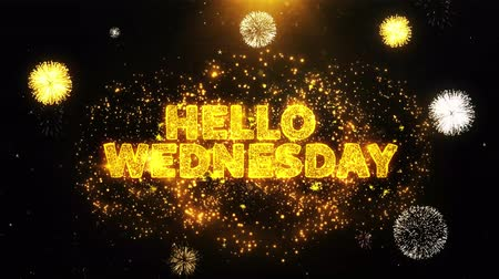 objektív : Hello Wednesday Text on Firework Display Explosion Particles. Sale, Discount Price, Off Deals, Offer promotion offer percent discount ads 4K Loop Animation.