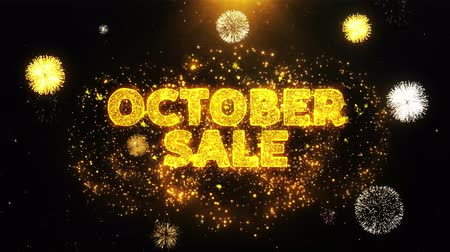 autumn discounts : October Sale Text on Firework Display Explosion Particles. Sale, Discount Price, Off Deals, Offer promotion offer percent discount ads 4K Loop Animation.