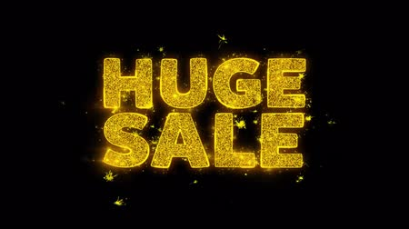 végső : Huge Sale Text Sparks Glitter Particles on Black Background. Sale, Discount Price, Off Deals, Offer promotion offer percent discount ads 4K Loop Animation. Stock mozgókép