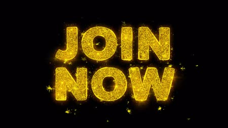 nişanlar : Join Now Text Sparks Glitter Particles on Black Background. Sale, Discount Price, Off Deals, Offer promotion offer percent discount ads 4K Loop Animation.