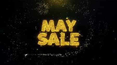 cupom : May Sale Text on Gold Glitter Particles Spark Exploding Fireworks Display. Sale, Discount Price, Off Deals, Offer Promotion Offer Percent Discount ads 4K Loop Animation.