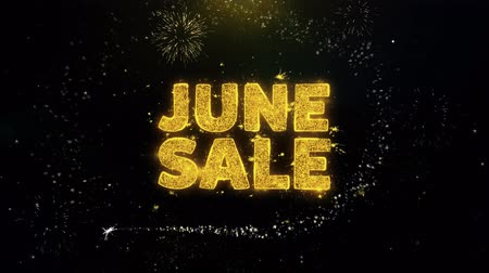 juni : June Sale Text on Gold Glitter Particles Spark Exploding Fireworks Display. Sale, Discount Price, Off Deals, Offer Promotion Offer Percent Discount ads 4K Loop Animation.