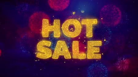 autocolantes : Hot Sale Text on Colorful Firework Explosion Particles. Sale, Discount Price, Off Deals, Offer promotion offer percent discount ads 4K Loop Animation.