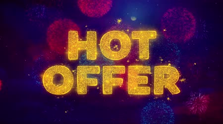 クリアランス : Hot Offer Text on Colorful Firework Explosion Particles. Sale, Discount Price, Off Deals, Offer promotion offer percent discount ads 4K Loop Animation.