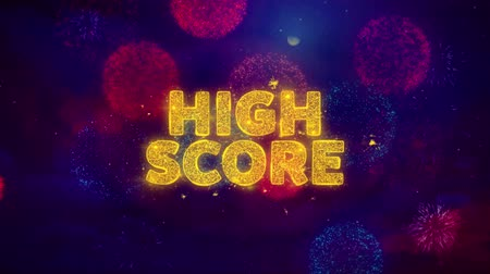 excelência : High Score Text on Colorful Firework Explosion Particles. Sale, Discount Price, Off Deals, Offer promotion offer percent discount ads 4K Loop Animation. Stock Footage
