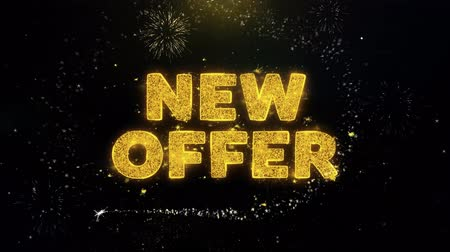 inkoop : New Offer Text on Gold Glitter Particles Spark Exploding Fireworks Display. Sale, Discount Price, Off Deals, Offer Promotion Offer Percent Discount ads 4K Loop Animation.