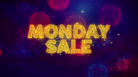 рекламный : Monday Sale Text on Colorful Firework Explosion Particles. Sale, Discount Price, Off Deals, Offer promotion offer percent discount ads 4K Loop Animation.