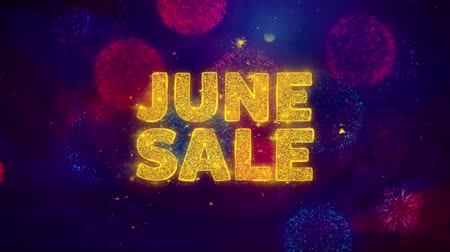 cabeçalho : June Sale Text on Colorful Firework Explosion Particles. Sale, Discount Price, Off Deals, Offer promotion offer percent discount ads 4K Loop Animation.