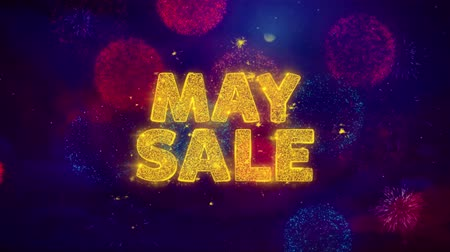 cupom : May Sale Text on Colorful Firework Explosion Particles. Sale, Discount Price, Off Deals, Offer promotion offer percent discount ads 4K Loop Animation.