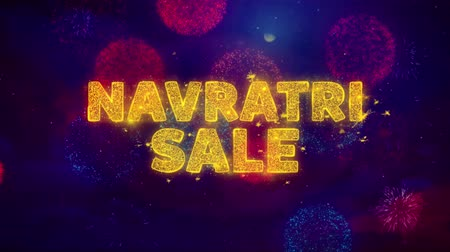 dussehra : Navratri Sale Text on Colorful Firework Explosion Particles. Sale, Discount Price, Off Deals, Offer promotion offer percent discount ads 4K Loop Animation. Stock Footage