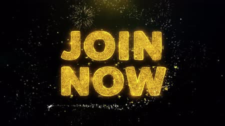 регистр : Join Now Text on Gold Glitter Particles Spark Exploding Fireworks Display. Sale, Discount Price, Off Deals, Offer Promotion Offer Percent Discount ads 4K Loop Animation.