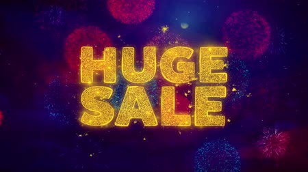 végső : Huge Sale Text on Colorful Firework Explosion Particles. Sale, Discount Price, Off Deals, Offer promotion offer percent discount ads 4K Loop Animation.