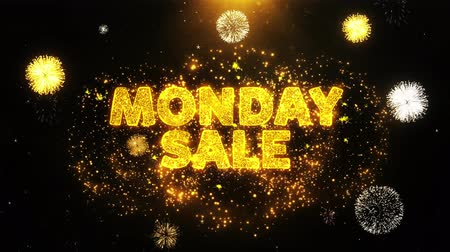 promo : Monday Sale Text on Firework Display Explosion Particles. Sale, Discount Price, Off Deals, Offer promotion offer percent discount ads 4K Loop Animation.