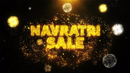 dussehra : Navratri Sale Text on Firework Display Explosion Particles. Sale, Discount Price, Off Deals, Offer promotion offer percent discount ads 4K Loop Animation.