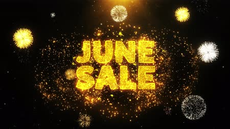 juni : June Sale Text on Firework Display Explosion Particles. Sale, Discount Price, Off Deals, Offer promotion offer percent discount ads 4K Loop Animation.