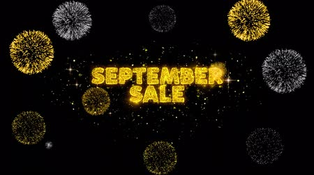 esdoorn : September Sale Text Reveal on Glitter Golden Particles Firework. Verkoop, kortingsprijs, korting aanbiedingen, aanbieding promotie aanbieding procent korting advertenties 4K Loop Animation.