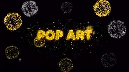 popart : Pop Art Text Reveal on Glitter Golden Particles Firework. Sale, Discount Price, Off Deals, Offer promotion offer percent discount ads 4K Loop Animation.